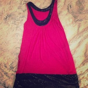 Pink and black sequin tank top with pockets